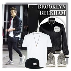 """""""Brooklyn Beckham in Yeezys"""" by anne-mclayne ❤ liked on Polyvore featuring Acne Studios, adidas Originals, Topman, Brixton, men's fashion and menswear"""