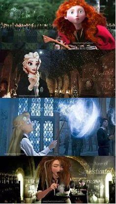 If Disney Princesses were Hogwarts Students - Merida - Elsa - Rapunzel - Anna. Merida and Anna are so perfect! by Graybird Jack Frost, Disney Hogwarts, Harry Potter Disney, Rapunzel, Merida, Disney And Dreamworks, Disney Pixar, Disney Frozen, Disney Love