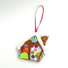 Felt Gingerbread House Christmas Tree Ornament