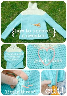 Handspun Yarn Shop and Fiber Art Blog by Neauveau: How to Unravel a Sweater to Recycle Yarn