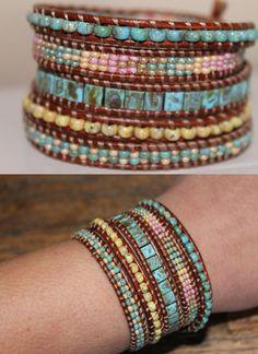 Leather beaded Wrap bracelet, Glass beads, Miyuki by homemadewithpleasure on Etsy https://www.etsy.com/listing/221310673/leather-beaded-wrap-bracelet-glass-beads