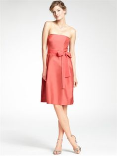 Strapless Empire Waist Knee length stain bridesmaid dress BD1159 www.tidedresses.co.uk $122.0000
