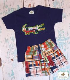 Alligator Applique Madras Plaid Boy Shirt and Shorts Set - pinned by pin4etsy.com