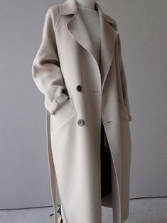 Loose Regular Double-Breasted Notched Lapel Winter Overcoat. Long Coat ... 97affb51a237