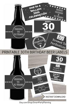 Are you looking for the perfect 30th birthday gift? If they like beer, then these 30th birthday beer labels are going to be the easiest gift you can find. It is certainly a gift all beer lovers will smile about. With 6 designs available, it is easy to attach a label to someone's favorite six pack of beer. Also perfect for 30th birthday party styling. Available as an instant download. Birthday Beer, Happy 30th Birthday, Birthday Gifts, Cool Diy Projects, Craft Projects, Printable Water Bottle Labels, Double Sided Sticky Tape, Bar Wrappers, Beer Labels