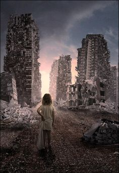 she over slept and missed the end of the world. Mundo Tattoo, Apocalypse Art, Apocalypse Aesthetic, Post Apocalyptic Art, Ruined City, Abandoned Cities, Abandoned Mansions, End Of The World, Story Inspiration