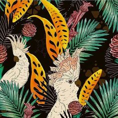 walter.spina - Estampa Cacatuas Tropicais. #illustration #draw #drawing #art #handmade #desenho #print #estampa #instaart #fashion #surfacedesign #tropical #pattern #patterns #estampas #digitalpainting #painting #foliage #bird #surfacespatterns #patterndesign #copic #ink #tropical #blackpen #jungle #cacatuas #cockatoos #printdesigner #illustrator
