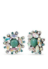 Betsey Johnson Mixed Faceted Stone & Bead Cluster Button Earrings