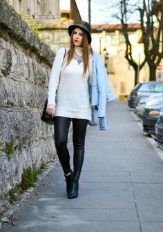 Zara Pastel Blue Biker Jacket, Leather Leggins, Borsalino Hat, Zign Boots, Zara Black Mini Leather City Bag, outfit primaverile, spring look, Thesparklingcinnamon