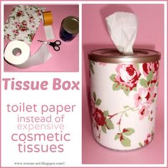 Using a roll of toilet paper! Tissue Box. I've made these and have several all around the house. Clever idea!