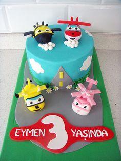Harika Kanatlar Temalı Butik Doğumgünü Pastası Wings Aeroplane Plane Fondant Birthday Cake