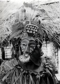 Africa | Masquerader from the Pende people of DR Congo | Photographer and date unknown