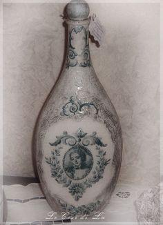 decoupaged bottle