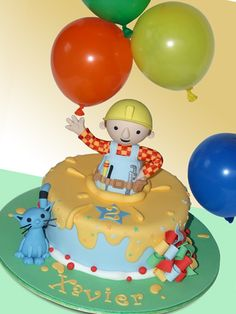 Bob the Builder Parkers Cake with helium balloons held by Bob. I am super mom. Bob The Builder Cake, Jake Cake, Elmo Cake, Funny Cake, Cake & Co, Types Of Cakes, Construction Birthday, Unique Cakes, Themed Cakes