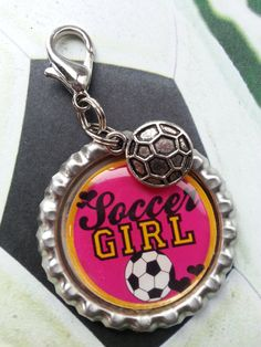 Soccer Girl Soccer Bottle Cap Keychain OR by tracikennedy on Etsy, $6.00