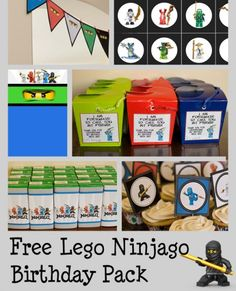 Totally free Ninjago Birthday Party Pack.Includes: invitation, classroom treat, party favor tag, cupcake toppers, water bottle wrappers, juice box wrappers, bunting, memory game. Plus all the party details and ideas!