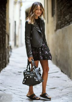 Perfect balance: little floral dress with biker jacket, Balenciaga, and Birkenstocks