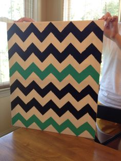 Painted canvas in Chevron Pattern...Another idea from Pinterest for JA's dorm.