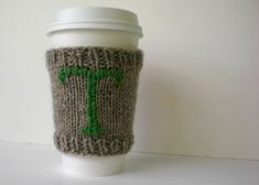 Coffee Sweater Cozy Hand Knitted Cuff with by UpCycledChicByBecca