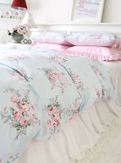 Shabby princess chic country pink blue rose floral duvet cover