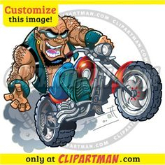 Biker cartoon & Motorcycle Rider clipart : CUSTOMIZE this image! - Clipartman.com