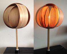 Night stand lamp from veneer