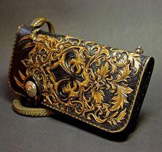 Handmade handtooled leather biker wallet, hand-carved wallet, mens wallet Fleur-de-lis, carved biker wallet,  hand-tooled wallet