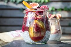 acai aronia smoothie Chia Pudding, Superfood, Muesli, Vegan, Smoothies, Brunch, Jar, Cream, Breakfast