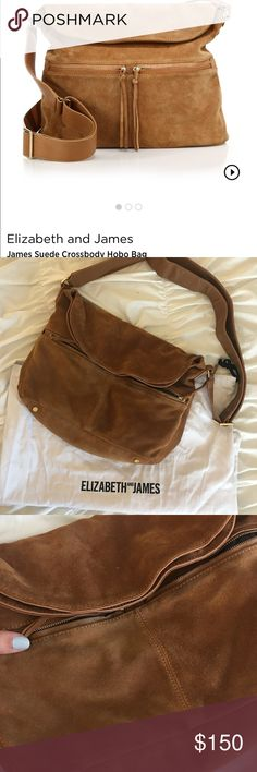 🎉Elisabeth and James sued cross body🎉 Beautiful sued bag, good condition the only minor issues are pictured.. there is slight friction wear under the two front zippers, hardly noticeable. There is also light scratch marks on the handle from rubbing on the hardware and just usage in general. The most noticeable issue is on the inside of the bag, the lining is torn about 4-5 inches under the interior pocket zipper. None of these things effect the bags function. I try to be as transparent as…