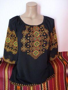 Black Embroidered blouse - Ornament Embroidery - chiffon shirt for womens - Ukrainian Vyshyvanka - Ukrainian Style