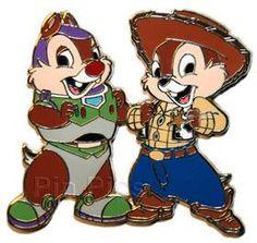 Pin 57693: DisneyShopping.com - Chip 'n Dale as Buzz & Woody Halloween Dress-Up Series Pin