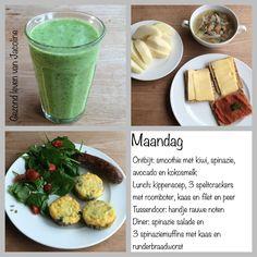 Dagmenu: bewust, gezond, puur en vaak koolhydraatarm Sugar Detox, Lchf, Smoothie, Avocado, Low Carb, Menu, Sporty, Healthy, Food