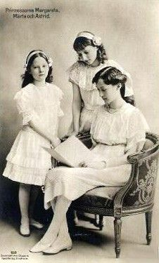 Astrid (later Queen of Belgium) with Margareta (later Princess Axel of Denmark) and Märtha (later Crown Princess of Norway), Princesses of Sweden