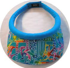 Colorful sea life print sun visor square brim w/turquoise band. Velcro closure.