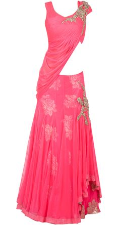 Pink draped blouse lehenga by GAURAV GUPTA. Shop at http://www.perniaspopupshop.com/whats-new/gaurav-gupta-pink-draped-blouse-lehenga-ggc091302.html