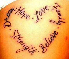 Dream,  hope,  love,  family,  believe,  strength