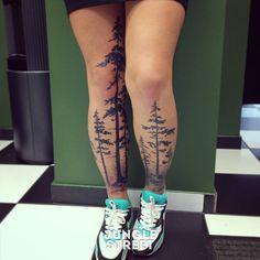 Stunning boreal forest tattoo, great idea!