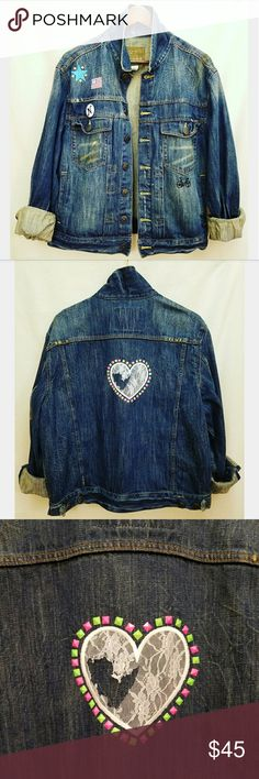 Distressed Patched Denim Jacket ONE OF A KIND!! Dark wash with funky patches 100% cotton Arizona Jean Company Jackets & Coats Jean Jackets