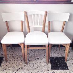 Chaises vintage style Bistrot repeintes en blanc iceberg