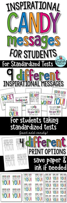 Inspire and motivate your students during standardized tests with these motivational and inspirational candy and treat tags! Ideal for test-prep and high-stakes state testing. Classroom culture. Classroom ideas. Classroom community.