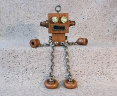 Robot Ledge Dangler Decorative Wood Sculpture by TawdryQuirks