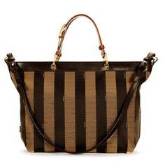 Fendi Pequin Striped Brown Handle Tote Shoulder Bag