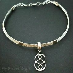 DOUBLE INFINITY on TWISTED Collar, Locking, Day, Wire Wrapped, Slave Collar, Made To Order 8859