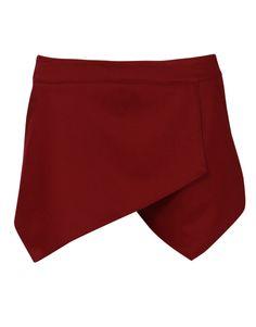 Plain Tailored Skort with Pockets in Burgundy £ 14.95 #chiarafashion