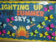 summer bulletin board Seasonal Bulletin Boards, Summer Bulletin Boards, Bullentin Boards, Summer Sky, Classroom Door, Summertime, Bee, Snoopy, Seasons