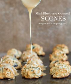 Quick and easy vegan oatmeal scones with fresh blueberry. Topped with a simple maple glaze. Made in 30 minutes and perfect tea time snack.
