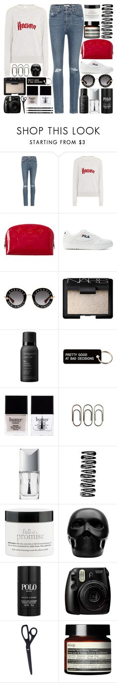 """""""You are literally the beginning and the end of me"""" by pure-and-valuable ❤ liked on Polyvore featuring RE/DONE, Yves Saint Laurent, Louis Vuitton, Fila, Gucci, NARS Cosmetics, Living Proof, Various Projects, Butter London and Clips"""