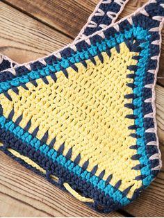 Color Block Crochet Bikini Bra - YELLOW ONE SIZE