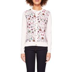 Ted Baker Cler Unity Floral Cardigan (6.660 RUB) ❤ liked on Polyvore featuring tops, cardigans, pink cardigan, patterned cardigans, floral cardigan, short-sleeve cardigan and floral print tops