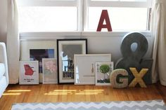 Neat way of displaying pictures when you don't want to just hang them up.